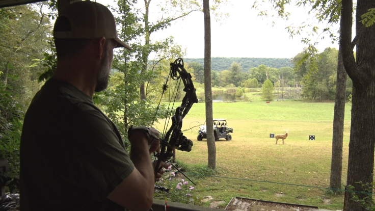Steve aiming towards rchery range
